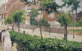 Picture house, people, street, picture, the urban landscape, Camille Pissarro, Berford Park. Bath Road. London