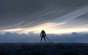 Wallpaper sword, fantasy, sky, weapon, clouds, men, digital art, artwork, warrior, fantasy art, Ghost blade, WLOP