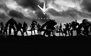 Picture axe, gun, pistol, logo, game, mecha, weapon, blade, bow, warrior, arrow, MOBA, Paragon