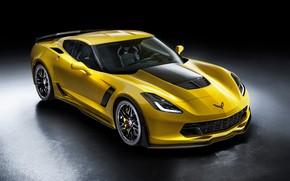 Picture Z06, Corvette, Chevrolet, black background, Chevrolet, Corvette
