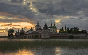 Picture lake, the evening, the monastery, Vologda oblast, Kirillov