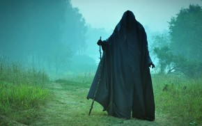 Wallpaper fog, death, meeting, staff, the end, black cloak, on the road, Sawan, underworld