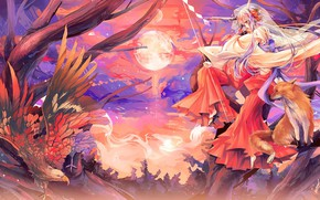 Wallpaper Japanese clothing, horns, tail, the full moon, kitsune, eagle, on the tree, priestess, wings, Fox