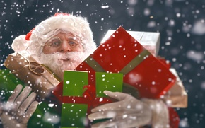 Picture snow, New Year, Christmas, Santa Claus, Gifts