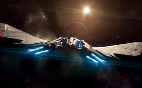 Picture space, flight, starship, Star Citizen, Vanguard