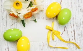 Picture flowers, spring, Easter, wood, flowers, daffodils, spring, Easter, eggs, decoration, Happy, the painted eggs