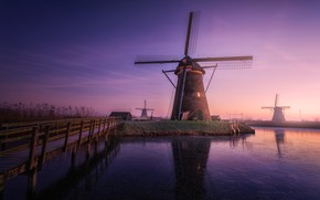 Picture the evening, morning, haze, Netherlands, Windmills
