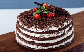 Picture berries, chocolate, cake, layers