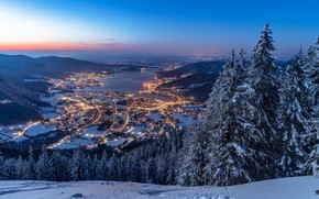 Picture winter, forest, snow, mountains, lake, Germany, ate, Bayern, panorama, night city, Germany, Bavaria, Bavarian Alps, …
