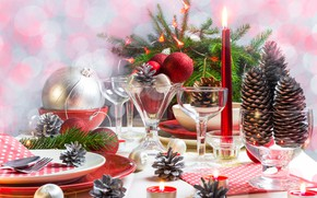 Picture holiday, Candles, Glasses, New year, Bumps, Table setting