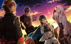 Wallpaper Touken Ranbu, art, Dance of swords, guys, anime, sunset