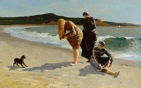 Wallpaper dog, genre, picture, shore, people, sea, High Tide, Winslow Homer, Winslow Homer