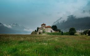 Picture Clouds, Mountains, Grass, Castle, Landscape