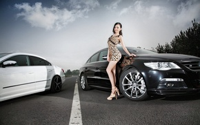 Picture look, Girls, Volkswagen, dress, hairstyle, Asian, cars, beautiful girl