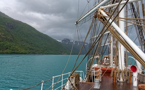Picture sailboat, Norway, deck, Norway, the fjord, rigging, Nordland, Nordland county, Shoals, Meløy