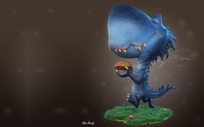 Picture art, bun, children's, Burger, dinosaur, Mido Mowafi, Burger Time