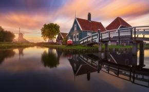 Picture bridge, home, channel, Netherlands, the village