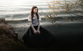 Picture water, river, shore, dress, girl