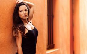 Picture model, portrait, makeup, dress, brunette, hairstyle, posing, standing, in black, bokeh, the wall, Monica Jimenez, …