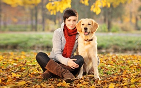 Picture autumn, leaves, girl, trees, Park, dog, boots, yellow, scarf, brunette, sitting, sweater, bokeh, on earth