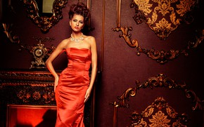 Picture wall, watch, necklace, makeup, figure, dress, mirror, hairstyle, fireplace, brown hair, beauty, ornament, in red, …