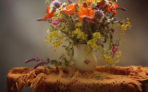 Picture flowers, table, Lily, vase, tablecloth, cornflowers