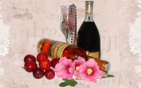 Picture flowers, wine, fruit, plum, author's photo by Elena Anikina