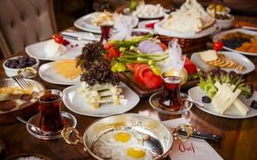Picture tea, Breakfast, cheese, scrambled eggs, salad, cuts