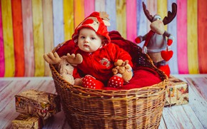 Picture basket, boy, costume, Toys, Baby, baby