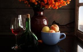 Picture flowers, style, wine, bottle, glasses, mug, vase, still life, peaches