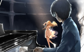 Picture music, Girl, Violin, blonde, piano, piano, brunette, Shigatsu wa Kimi no Uso, Kaori, Your April …