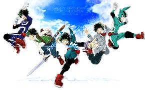 Wallpaper the sky, guy, Boku No Hero Academy, Midori Isuku, My Hero Academy