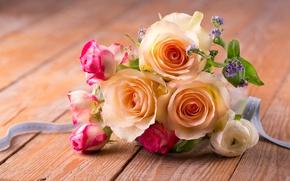 Wallpaper romantic, roses, bouquet, roses, petals, flowers, pink