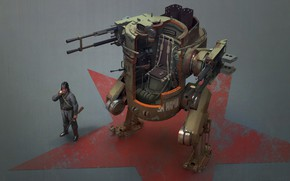 Picture machine, star, robot, military, Russian Mech