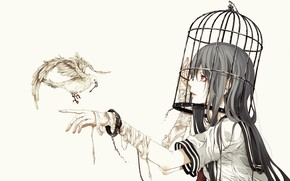 Picture the victim, dove, cell, key, schoolgirl, handcuffs, prisoner, bandages, straps