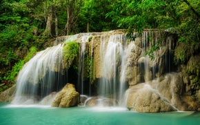 Wallpaper forest, river, stones, waterfall, forest, river, landscape, jungle, beautiful, waterfall, tropical