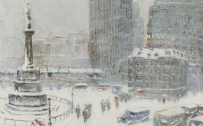Picture winter, snow, picture, area, the urban landscape, Guy Carleton Wiggins, Columbus Circle