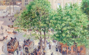Picture picture, the urban landscape, Camille Pissarro, Place Du Théâtre Français. Spring