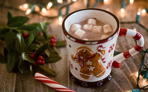 Picture coffee, drink, caramel, hot chocolate, marshmallows