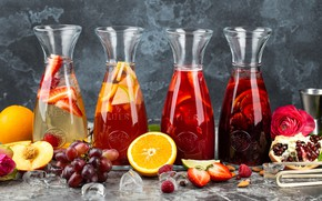 Picture berries, orange, juice, grapes, Drink, citrus