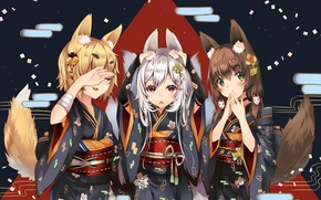 Picture Japan, belt, kimono, gesture, ears, art, can't hear anything, can't see anything, fox girl, Fox …
