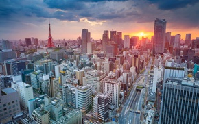Picture clouds, sunset, tower, home, Japan, Tokyo, panorama