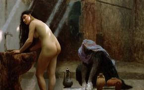 Wallpaper Woman in Turkish Bath, Jean-Leon Gerome, erotic, picture