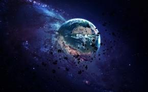 Wallpaper Planet, sci fi, destruction