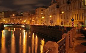 Wallpaper river, lights, night, channel, lights, Russia, home, Saint Petersburg, bridges