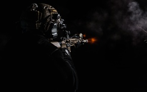 Wallpaper fire, machine, soldiers, shooting, weapons