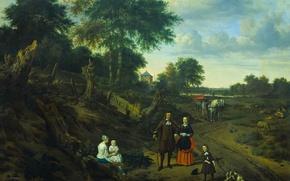 Picture oil, picture, canvas, Adriaen van de Velde, Portrait of Couple with Two Children and a …