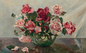 Picture picture, still life, Georgy Lapchin, Georgy Lapshin, Roses in a Bowl