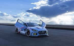 Picture car, Hyundai, blue, race, speed, tunning, Hyundai RN30