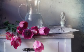 Picture water, tulips, figurine, pitcher